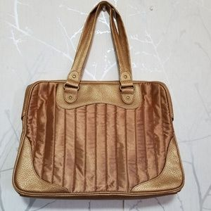 Estee Lauder Gold Quilted & Faux Leather Tote Bag